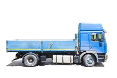 Blue truck isolated. On white royalty free stock photos