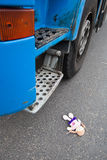 Blue truck and little doll Stock Photo