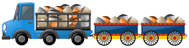 Blue truck loaded with stones. Illustration Royalty Free Stock Images