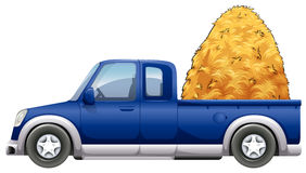 Blue truck loaded with straws. Illustration Royalty Free Stock Photos