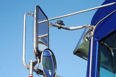 Blue truck mirror close up Royalty Free Stock Image