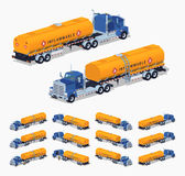 Blue truck with the orange fuel tank Stock Image