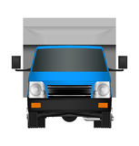 Blue truck template. Cargo van Vector illustration EPS 10 isolated on white background. City commercial vehicle delivery. Stock Photo