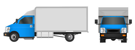 Blue truck template. Cargo van Vector illustration EPS 10 isolated on white background. City commercial vehicle delivery. Royalty Free Stock Photos