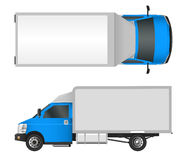 Blue truck template. Cargo van Vector illustration EPS 10 isolated on white background. City commercial vehicle delivery. Stock Photos