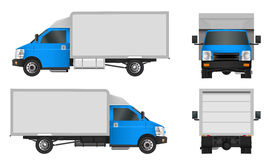 Blue truck template. Cargo van Vector illustration EPS 10 isolated on white background. City commercial vehicle delivery. Stock Image