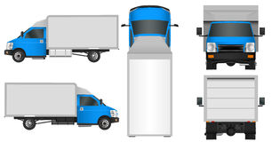 Blue truck template. Cargo van Vector illustration EPS 10 isolated on white background. City commercial vehicle delivery. Royalty Free Stock Images