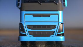 Blue truck, trailer on the road, highway. Transports, logistics shipping concept. 3d rendering