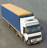 Blue truck view from top isolated on road Royalty Free Stock Photos