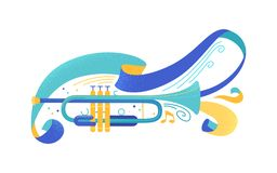 Blue trumpet flat vector illustration. Professional brass instrument with ribbons and serpentine isolated clip art. Classical music ensemble, jazz concert royalty free illustration