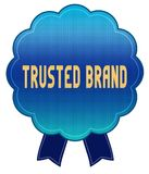 Blue TRUSTED BRAND ribbon badge. Illustration graphic design concept image Stock Photo