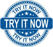 Blue try it now rubber stamp internet sign on white background. Old grungy rubber stamp on white background vector illustration