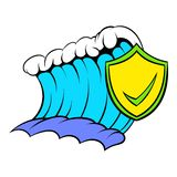 Blue tsunami wave and yellow shield with tick icon Royalty Free Stock Photography