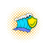 Blue tsunami wave and yellow shield with tick icon Stock Image