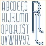 Blue tube font. Original font with blue pipes Royalty Free Stock Photography