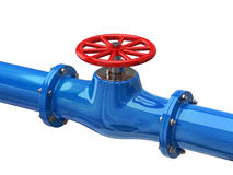 Blue tube with red valves Royalty Free Stock Photography