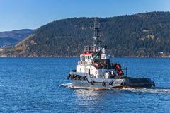 Blue tug boat Abramis, Norway Royalty Free Stock Photos