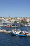 Blue Tugboat in Palamos in Costa Brava,Catalonia,Spain Stock Photography