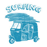 Blue tuk-tuk with surfboards, grunge vintage logo Royalty Free Stock Images