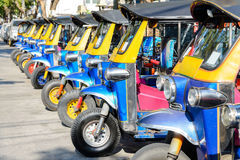 Blue tuk tuk thailand is local taxi thai is Favorite activities and Royalty Free Stock Photos