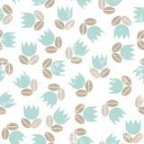 Blue tulips with beige leaves messy seamless patte Royalty Free Stock Images