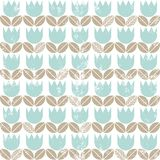 Blue tulips with beige leaves seamless pattern Royalty Free Stock Photography