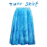 Blue tulle maxi skirt. Hand drawn watercolor illustration. Royalty Free Stock Image