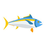 Blue Tuna Fish Icon. Cartoon tuna ocean fish vector icon. Blue tunny isolated on white background Stock Photo