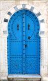 Blue tunisian doors stock images
