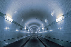 Blue tunnel. Old Elbtunnel in Hamburg, germany Royalty Free Stock Images