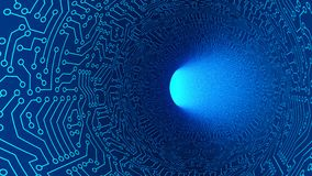 Free Blue Tunnel In Highway With Circuit Board Pattern Texture. High-tech Background In Digital Computer Technology Concept, Moving To Royalty Free Stock Photo - 125220265