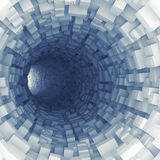 Blue tunnel with technological extruded segments Stock Photos