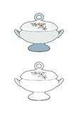 Blue tureen. Vector illustration of a soup tureen, EPS 8 file Royalty Free Stock Images