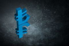 Blue Turkish Currency Symbol or Sign With Mirror Reflection on Dark Dusty Background stock illustration