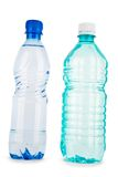 Blue and turquiose bottle with water isolated Royalty Free Stock Images