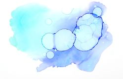 Blue and turquise watercolor background. Blue and turquise watercolor textures on white background Stock Images