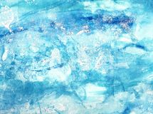 Blue and turquoise abstract marine background. Hand painted acrylic and watercolor texture. Sea waves stock illustration