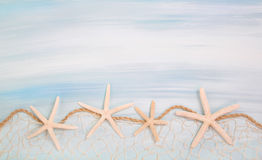 Blue turquoise background with starfishes or shells. Stock Photos
