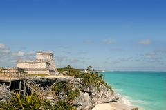 Blue turquoise Caribbean mayan ruins Tulum. Blue turquoise Caribbean sea over mayan ruins Tulum Mexico stock photography