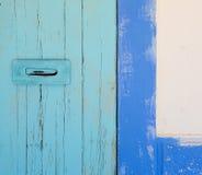 Blue and turquoise mediterranean door Stock Photos