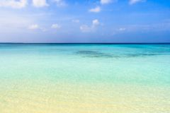 Blue turquoise ocean. Turquoise waters of the Indic ocean in Maldives islands Stock Photography
