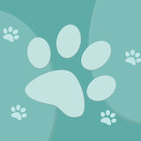 Blue and turquoise paw print background Royalty Free Stock Image