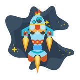 Rocket fish flies in space among the stars. Blue turquoise rocket flies in space among the stars Stock Images