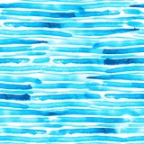 Blue and turquoise watercolor brush stroke stripes seamless vector pattern vector illustration