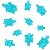 Blue Turtles in water os ocean - vector pattern Stock Photo