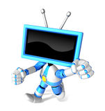 A Blue TV Character and a boxing play. Create 3D Television Robo Stock Images