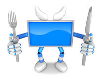 Blue TV Character Chef in both hands to hold a fork and Knife. C Royalty Free Stock Photography