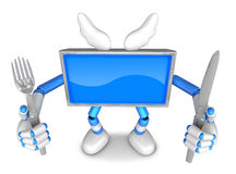 Blue TV Character Chef in both hands to hold a fork and Knife. C Royalty Free Stock Image