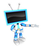 Blue TV character are kindly guidance. Create 3D Television Robo Royalty Free Stock Photo