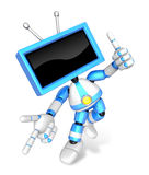 Blue TV character are kindly guidance. Create 3D Television Robot Series. Stock Photo